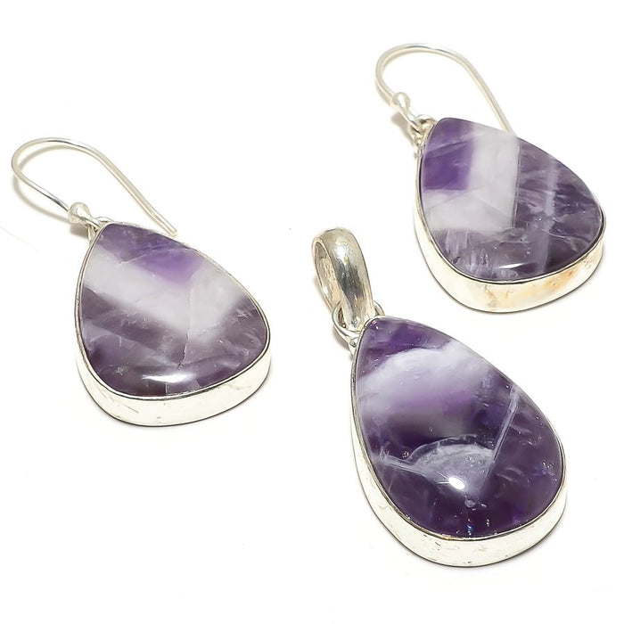Chevron Amethyst Gemstone Handmade Jewelry Set RS73