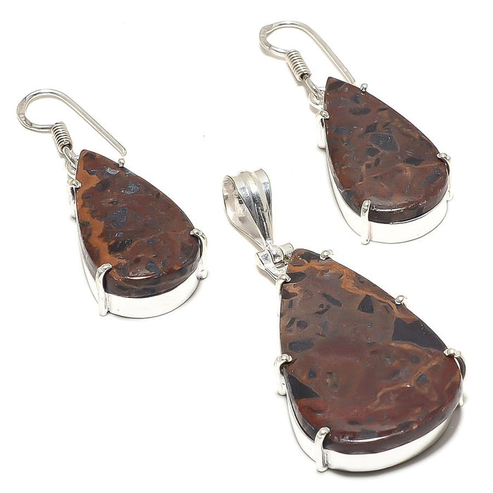 Mahogany Red Jasper Gemstone Handmade Jewelry Set RS7