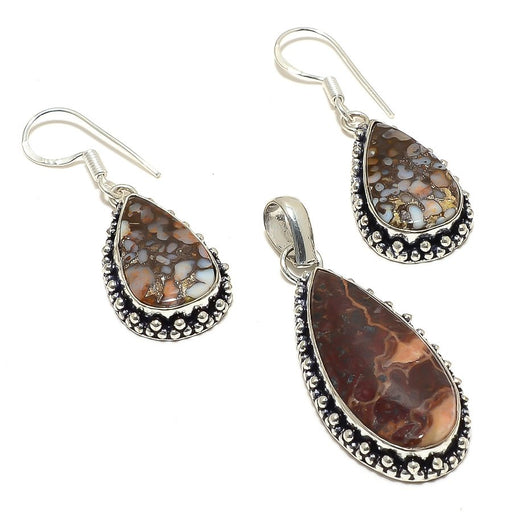 Boulder Opal Gemstone Handmade Ethnic Jewelry Set RS86