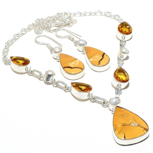 Brecciated Mookaite, Citrine, Pearl Jewelry Set RS99