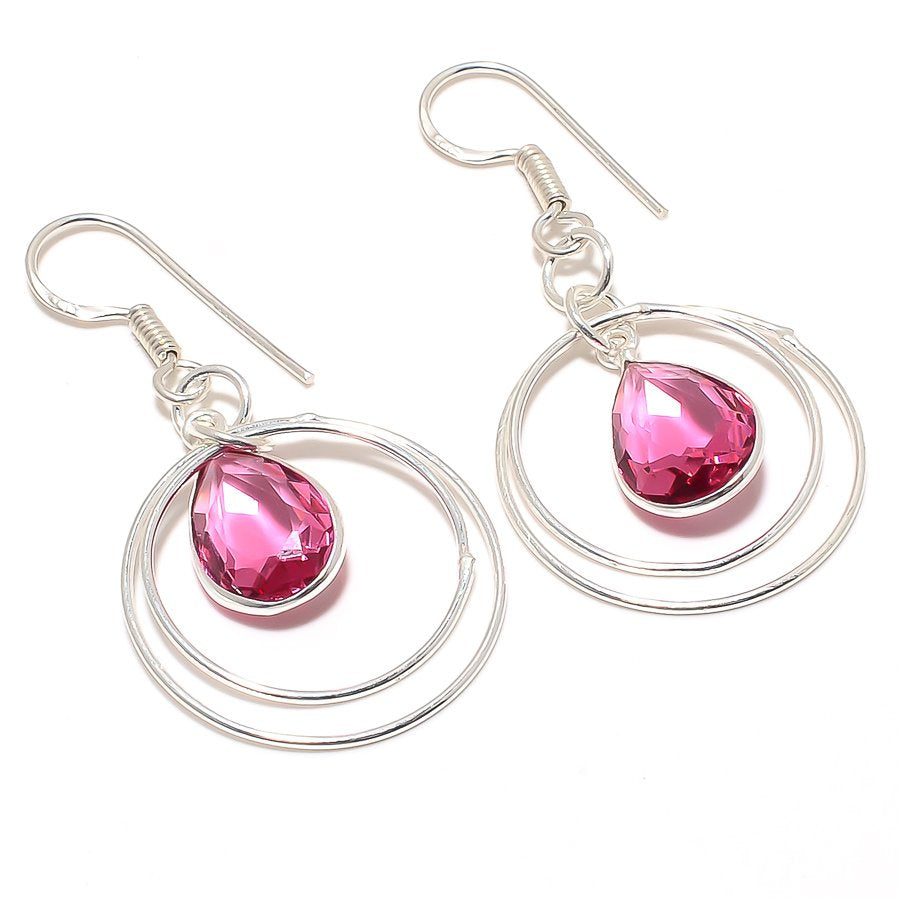 Pink Rubellite Tourmaline Ethnic Jewelry Earring 2.0 Inches RJ3001