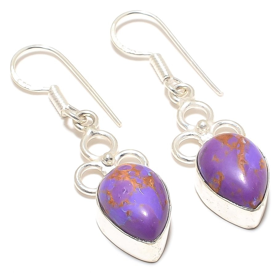 Copper Purple Turquoise Gemstone Jewelry Earring 1.8 Inches RJ3004