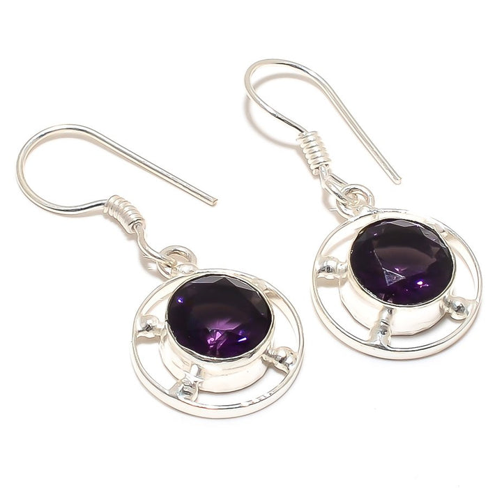 Amethyst Gemstone Handmade Jewelry Earring 1.6 Inches RJ3012