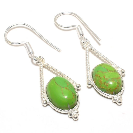 Copper Green Turquoise Gemstone Jewelry Earring 2.0 Inches RJ3018