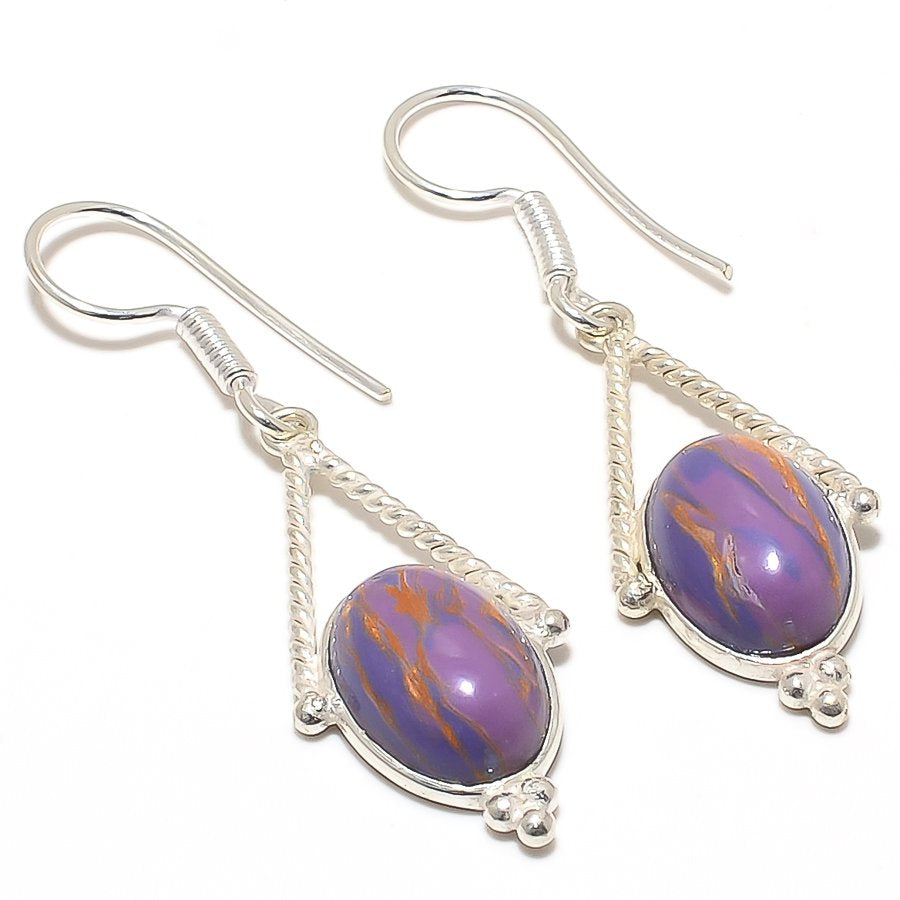 Copper Purple Turquoise Gemstone Jewelry Earring 2.0 Inches RJ3022