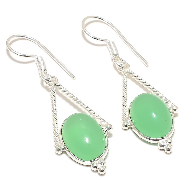 Green Chalcedony Gemstone Ethnic Jewelry Earring 2.0 Inches RJ3024