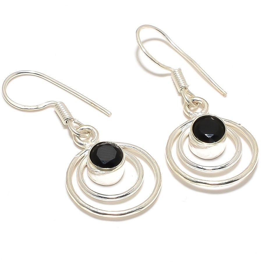 Black Onyx Gemstone Handmade Jewelry Earring 1.6 Inches RJ3027