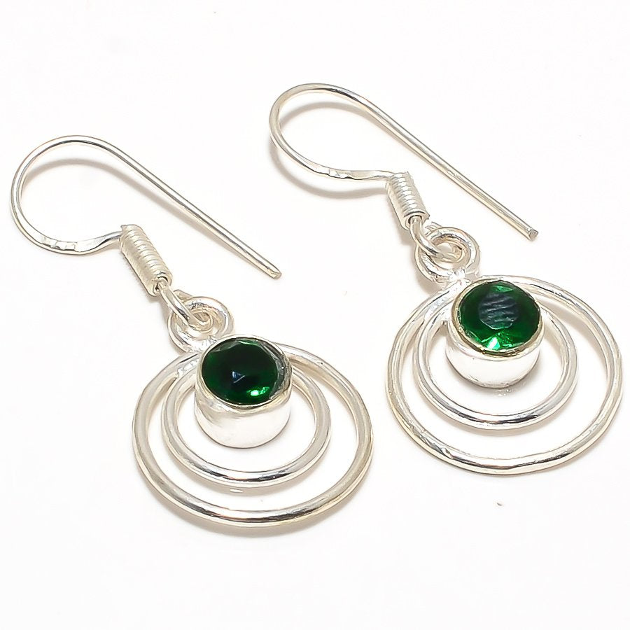 Chrome Diopside Gemstone Ethnic Jewelry Earring 1.6 Inches RJ3037