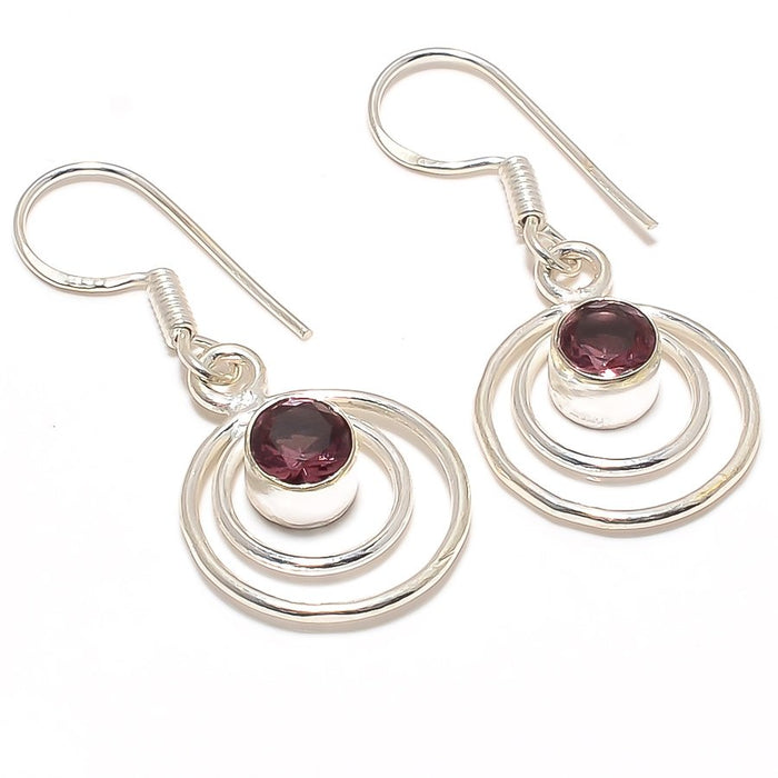 Pink Amethyst Gemstone Handmade Jewelry Earring 1.6 Inches RJ3045