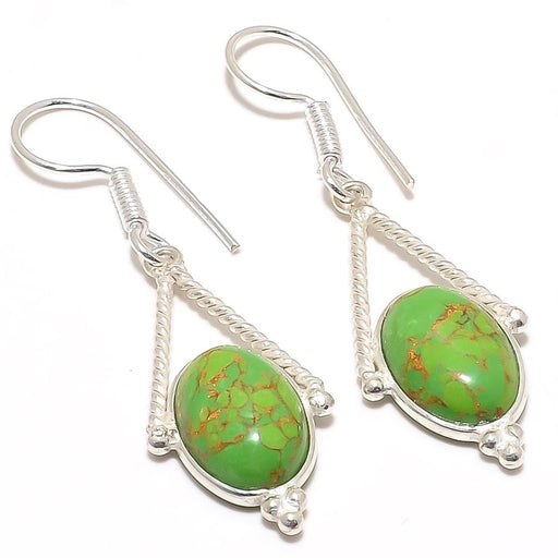 Copper Green Turquoise Gemstone Jewelry Earring 2.0 Inches RJ3046