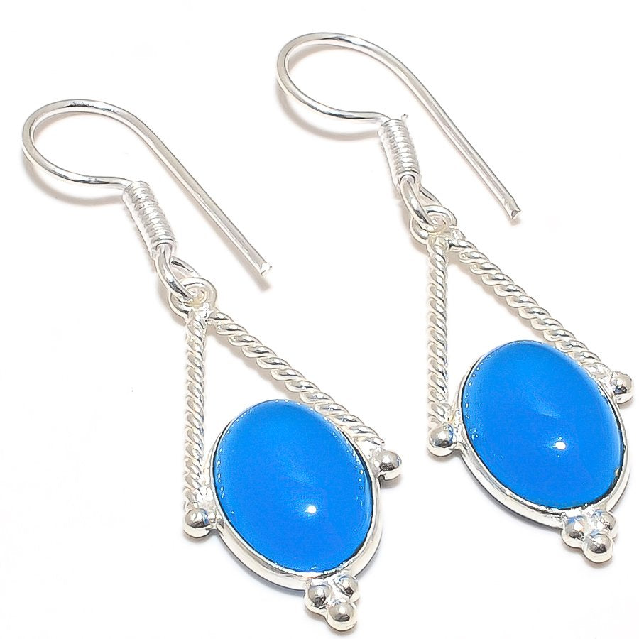 Blue Chalcedony Gemstone Ethnic Jewelry Earring 2.0 Inches RJ3049