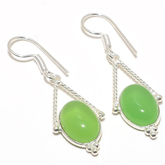 Green Chalcedony Gemstone Ethnic Jewelry Earring 2.0 Inches RJ3071