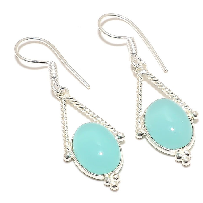 Aqua Chalcedony Gemstone Ethnic Jewelry Earring 2.0 Inches RJ3079