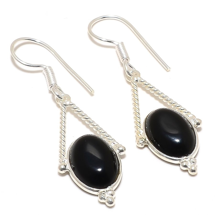 Black Onyx Gemstone Handmade Jewelry Earring 2.0 Inches RJ3081