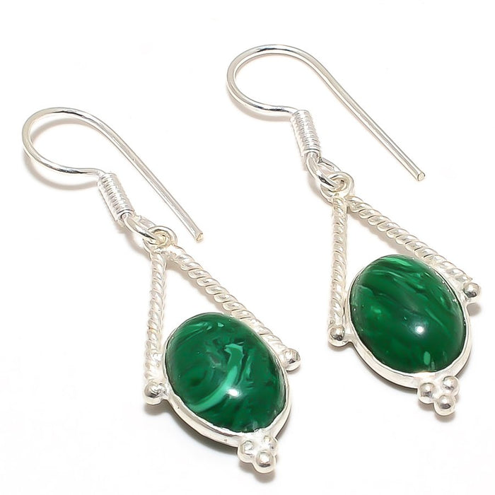 Malachite Gemstone Handmade Jewelry Earring 2.0 Inches RJ3084