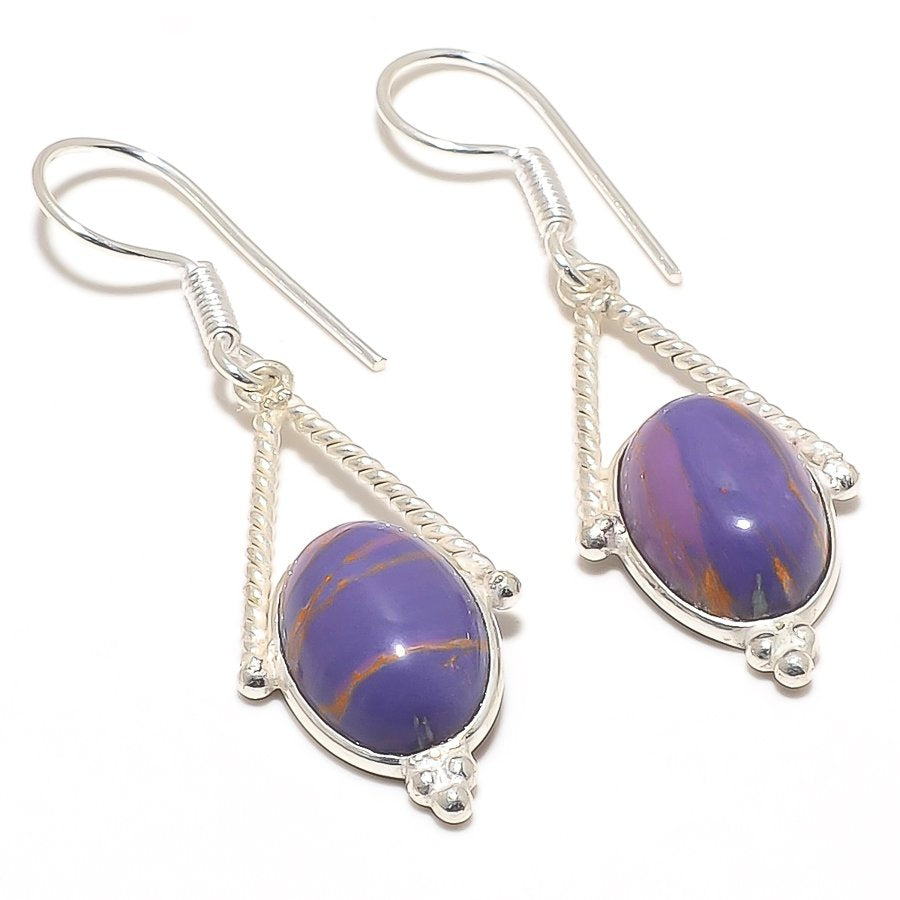 Copper Purple Turquoise Gemstone Jewelry Earring 2.0 Inches RJ3085