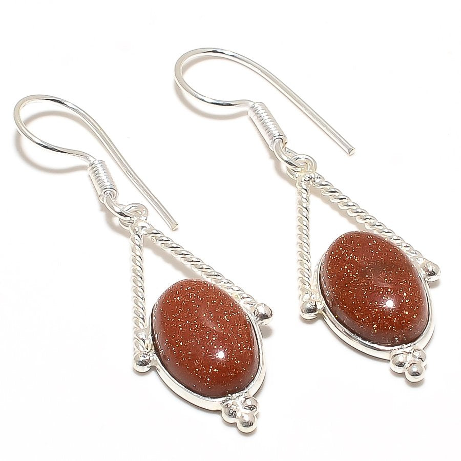 Golden Sunstone Gemstone Ethnic Jewelry Earring 2.0 Inches RJ3086