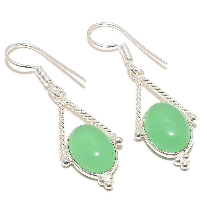 Green Chalcedony Gemstone Ethnic Jewelry Earring 2.0 Inches RJ3087