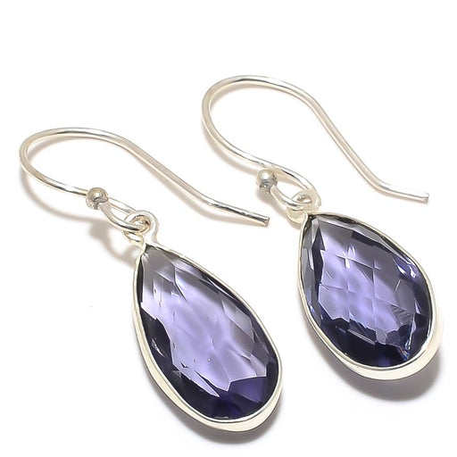Iolite Gemstone Handmade Ethnic Jewelry Earring 1.6 Inches RJ3098