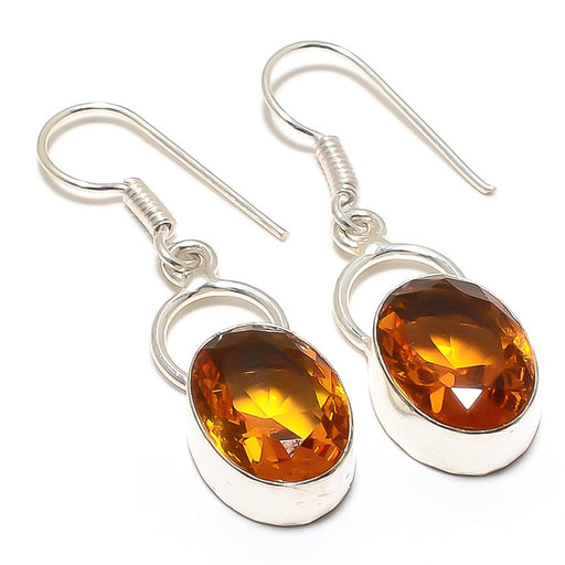 Aaa+++ Citrine Gemstone Handmade Jewelry Earring 1.7 Inches RJ3099