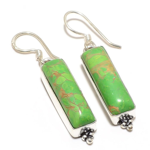 Copper Green Turquoise Gemstone Jewelry Earring 1.8 Inches RJ3105