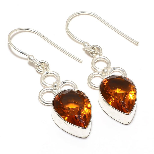 Aaa+++ Citrine Gemstone Handmade Jewelry Earring 1.7 Inches RJ3109