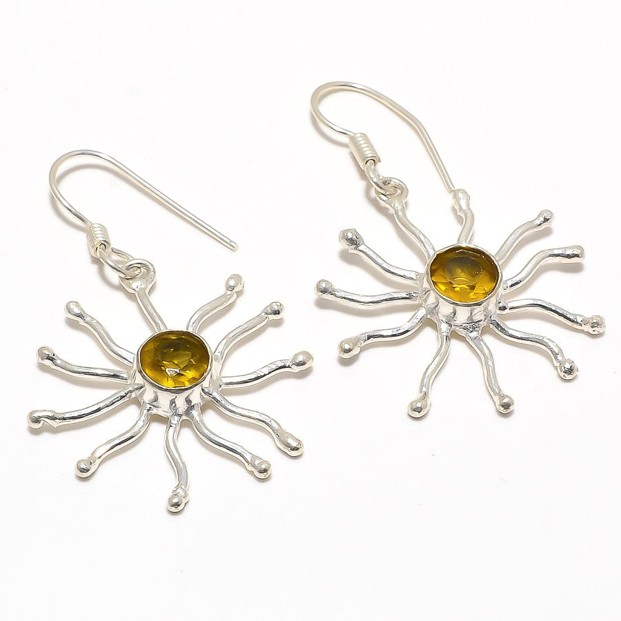 Citrine Gemstone Handmade Ethnic Jewelry Earring 1.9 Inches RJ3113