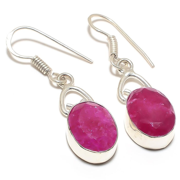 Faceted Ruby Gemstone Handmade Jewelry Earring 1.7 Inches RJ3122