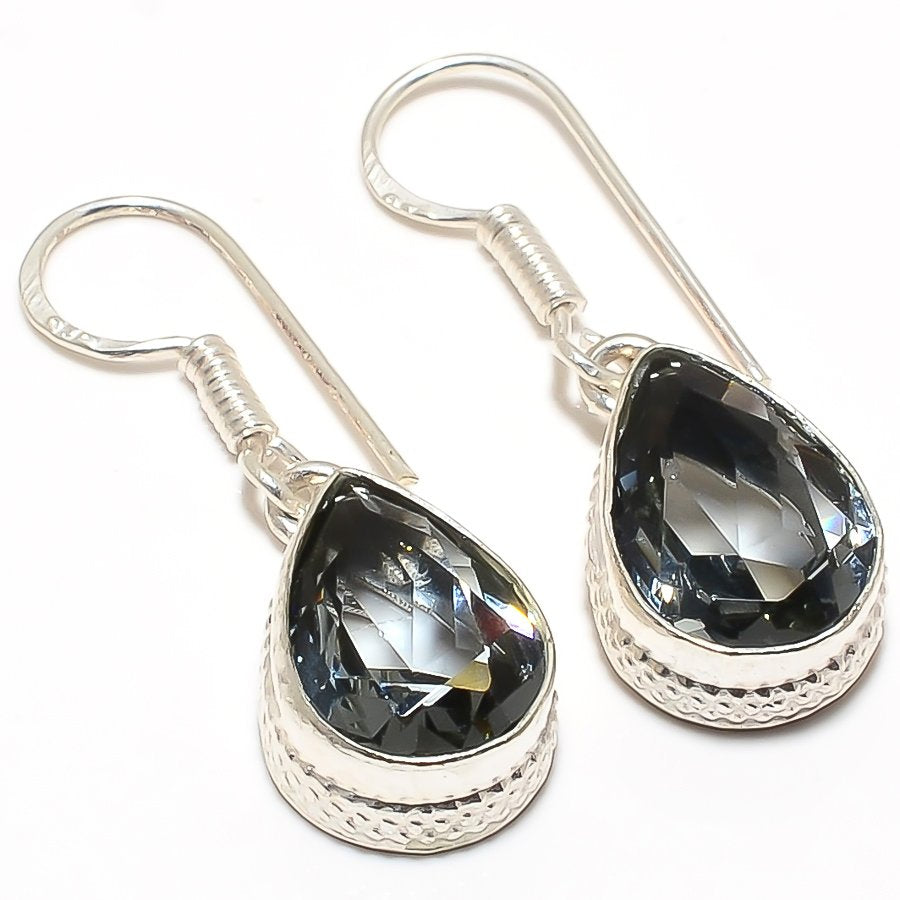Black Tourmaline Gemstone Ethnic Jewelry Earring 1.3 Inches RJ3124