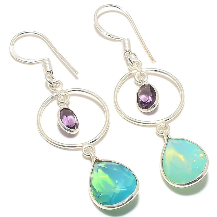 Green Chalcedony, Amethyst Jewelry Earring 2.4 Inches RJ3137