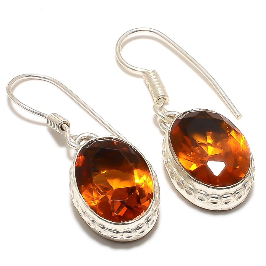 Honey Topaz Gemstone Handmade Jewelry Earring 1.4 Inches RJ3146