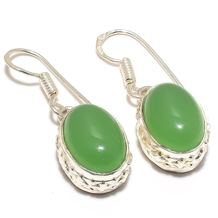 Green Chalcedony Gemstone Ethnic Jewelry Earring 1.4 Inches RJ3151