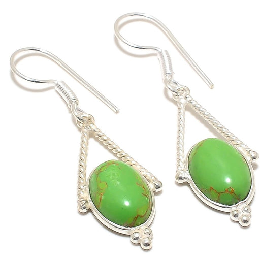 Copper Green Turquoise Gemstone Jewelry Earring 2.0 Inches RJ3158