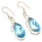 Blue Topaz Gemstone Handmade Jewelry Earring 1.8 Inches RJ3162