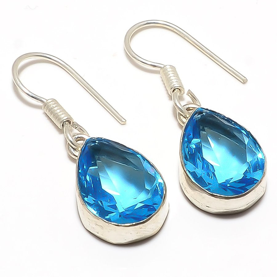 Blue Topaz Gemstone Handmade Jewelry Earring 1.3 Inches RJ3164