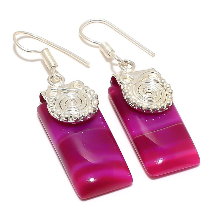 Pink Lace Agate Gemstone Ethnic Jewelry Earring 2.0 Inches RJ3169