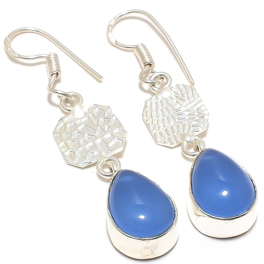 Blue Chalcedony Gemstone Ethnic Jewelry Earring 2.0 Inches RJ3171