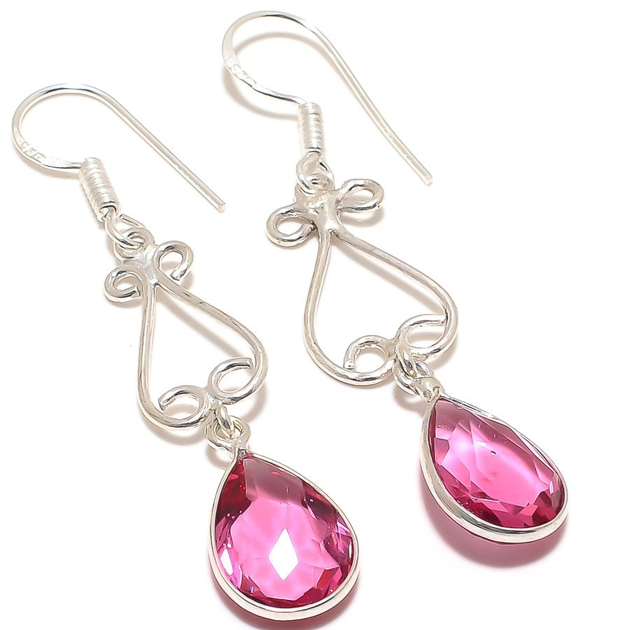 Pink Rubellite Tourmaline Ethnic Jewelry Earring 2.0 Inches RJ3180