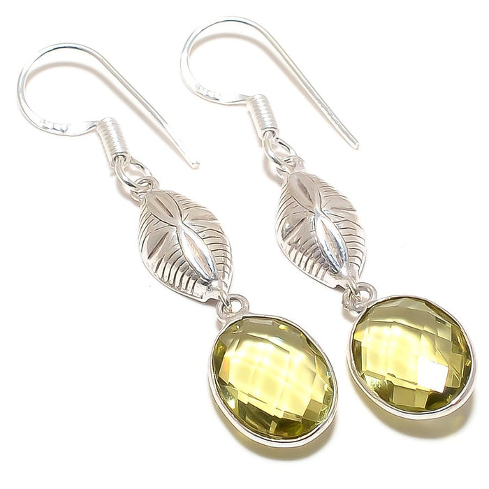 Lemon Topaz Gemstone Handmade Jewelry Earring 2.0 Inches RJ3189