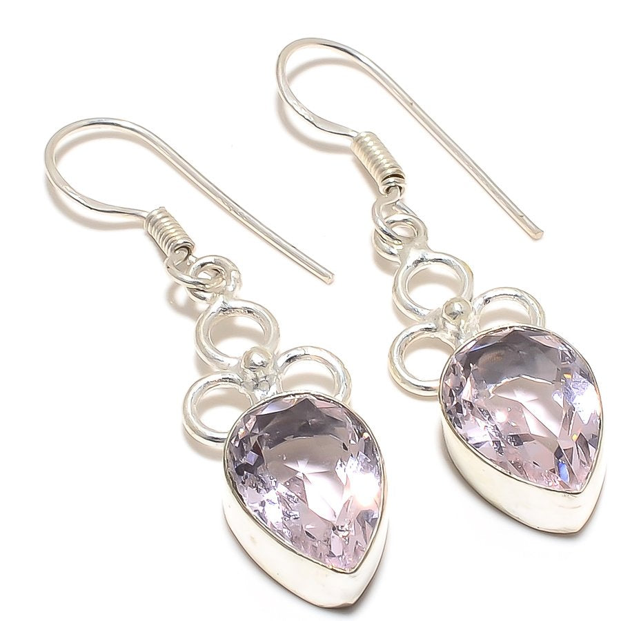 Rose Quartz Gemstone Handmade Jewelry Earring 2.0 Inches RJ3192