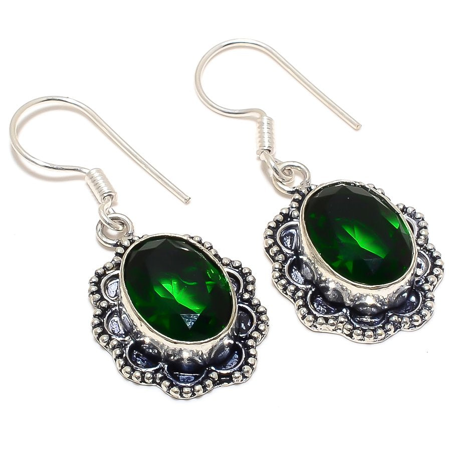 Chrome Diopside Gemstone Ethnic Jewelry Earring 1.7 Inches RJ3195