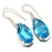 Blue Topaz Gemstone Handmade Jewelry Earring 1.6 Inches RJ3204