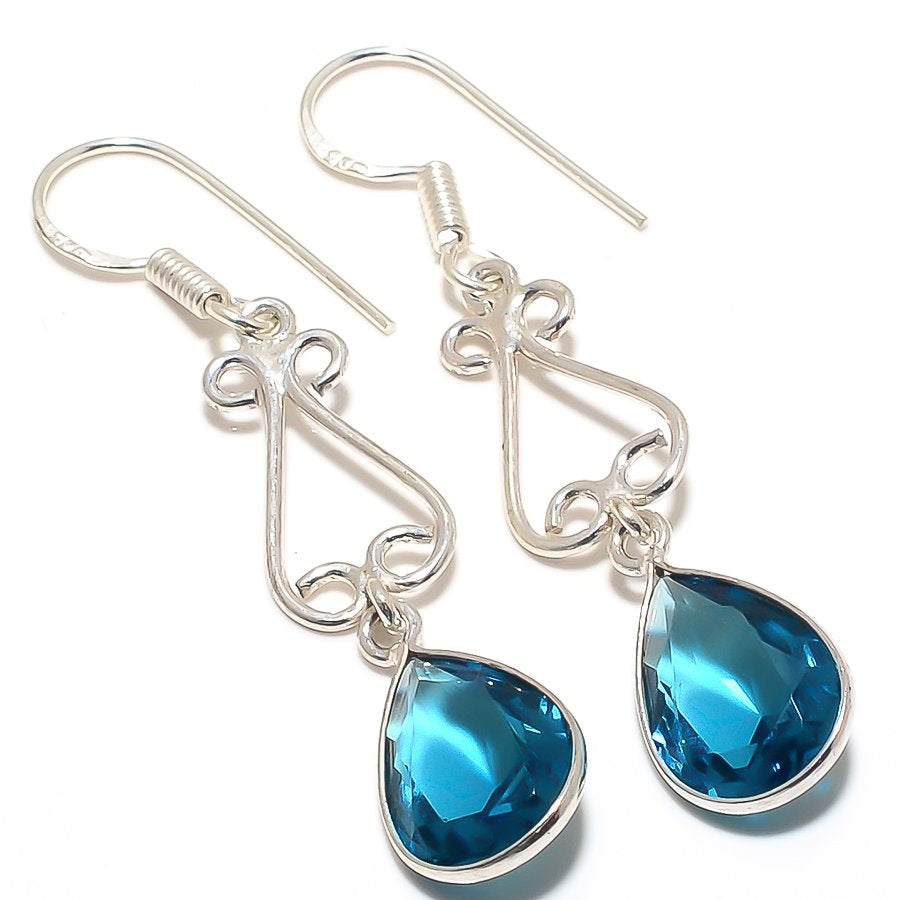 Blue Topaz Gemstone Handmade Jewelry Earring 2.0 Inches RJ3208