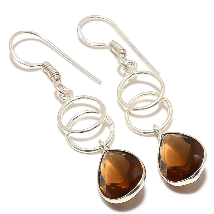Smokey Topaz Gemstone Handmade Jewelry Earring 2.0 Inches RJ3210