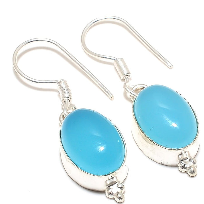 Blue Chalcedony Gemstone Ethnic Jewelry Earring 1.6 Inches RJ3219