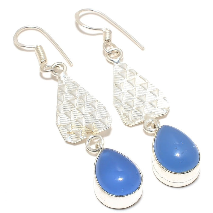 Blue Chalcedony Gemstone Ethnic Jewelry Earring 2.4 Inches RJ3221