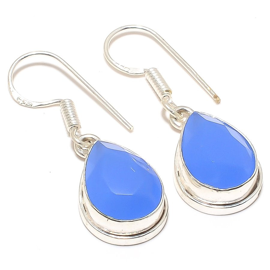 Blue Chalcedony Gemstone Ethnic Jewelry Earring 1.4 Inches RJ3234