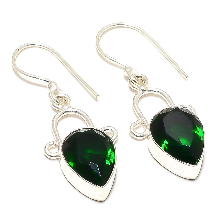Chrome Diopside Gemstone Ethnic Jewelry Earring 1.7 Inches RJ3268