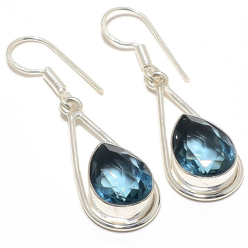 Teal Tourmaline Gemstone Ethnic Jewelry Earring 2.0 Inches RJ3270
