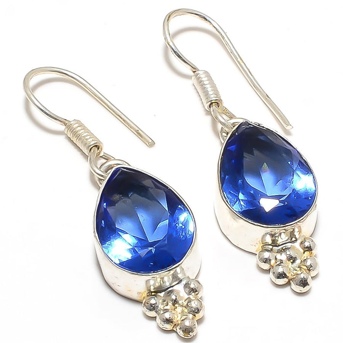 Tanzanite Quartz Gemstone Ethnic Jewelry Earring 1.6 Inches RJ3271